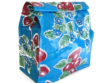 Bag,Lunch,Snack,Oilcloth,Blue,Strawberry,Floral,Reusable,Vintage,Classic,Print,Handmade,USA