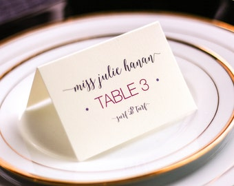 "Plum and Fuchsia Mitzvah Placecards, Modern Place Seating Cards, Purple Event Decor - ""Whimsical Calligraphy"" Tented Placecard v2 - DEPOSIT"