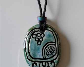 Mayan KAWOQ Necklace Mesoamerican Thunder Glyph Turquoise Green Ceramic Tzolk'in Day Sign Amulet Clay Pendant Aztec Calender Olmec Symbol
