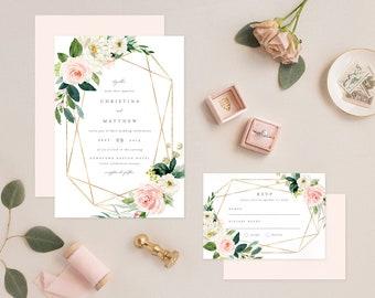 Editable Template - Instant Download Geometric Spring Romance Wedding Invitation & RSVP
