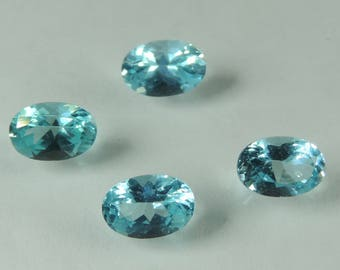2.1 cts blue Apatite  6x4 mm faceted oval lot Madagascar