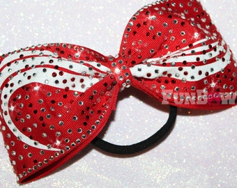 Tail-less Custom rhinestone Allstar cheer bow  by Funbows
