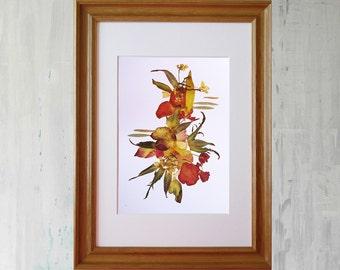 Botanical print Dry flower print Plant botanical art decor Pressed flower art Dry flower picture Plant art print pressed botanical Collage