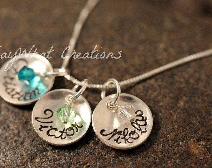 Custom Hand Stamped Sterling Silver 3 Small Cups Mothers Necklace with Birthstones