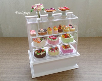 Miniature Bakery Set (Pastries + Display Cabinet) for Dollhouse Roombox, Cakes Patisserie Fake Food Petite Cafe display (see Item Details)