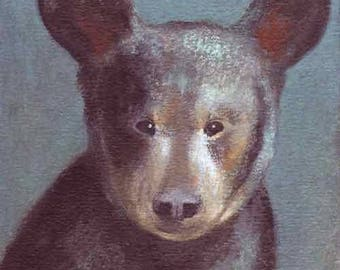 ORIGINAL Bear Canvas Painting by KAZUMI 8x8 inches