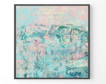 "Large Abstract Painting, ""Penryn"", pastel print, teal wall art, pastel pink, abstract landscape, modern giclee print, seascape painting"