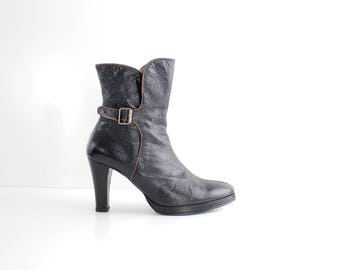 size 7.5 - 8  | Handmade Black Leather Ankle Boots | Leather Lined Buckled Boots | Textured Leather Platform Boots | 38 - 38.5