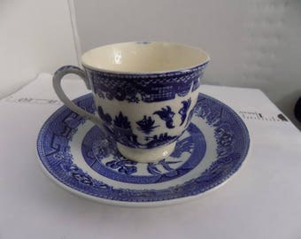 bLUE willow, pre wwII japan, tea cup sacuer