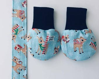 Rudolph Red Nose Reindeer Baby Paci Holder Mitts Newborn -6 mos Christmas
