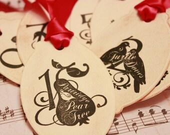 12 Days of Christmas - 12 Days of Christmas Gift Tags - Vintage Christmas Tags - Twelve Days of Christmas Gift Tags (Set of 12)