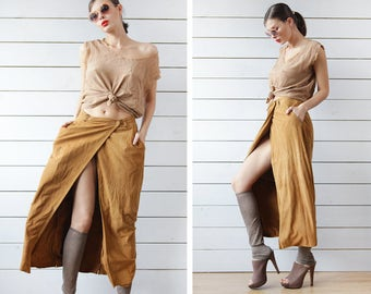 MASSIMO REBECCI vintage ochre brown genuine suede leather wrap deep slit ankle length maxi skirt