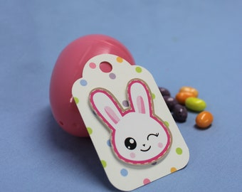 Gift tags, Easter, set of 5, bunny, 3D, wrapping, white and pink, polka dots