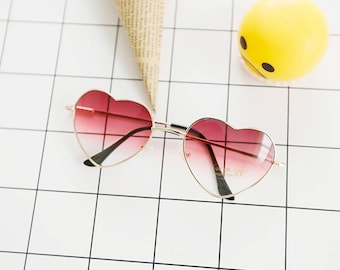 heart shape sunglasses Glasses dark red maroon gold transparent gradient