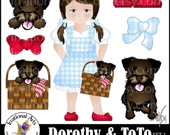Dorothy and Toto set 1 - 10 PNG digital clipart graphics Red Slippers Ruby Shoes Toto in basket and in Dorothy's arms {Instant Download}