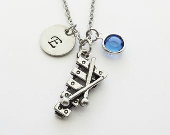 Xylophone Necklace, Pewter Charm, Marimba, Instrument Charm, Musical, Swarovski Birthstone Personalized Monogram Silver Hand Stamped Initial