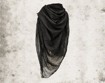 Black Large Scarf,  Hand distressed