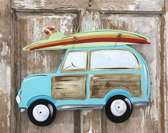 Beach Door Decor, Woody Wagon, Woody, Surf board decor, Door Hanger, Beach Art, Beach Door Decor, Surf Decor, Personalized Door Decor