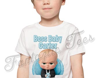 Boss Baby Birthday Shirt Add Name & Age Boss Baby Custom Birthday Party TShirt A