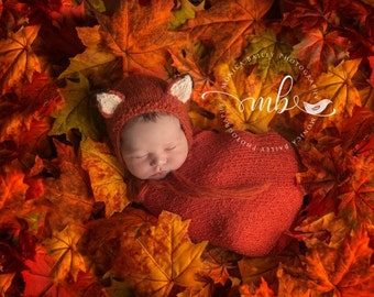 Newborn Fox Bonnet Photography Prop, Knitted, Made to Order