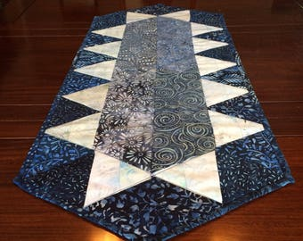 "Blue and White Table Runner, Quilted, 14 1/4"" x 33"", Elegant"