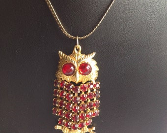 Owl Pendant Necklace with Ruby Red Rhinestones with Serpentine Chain
