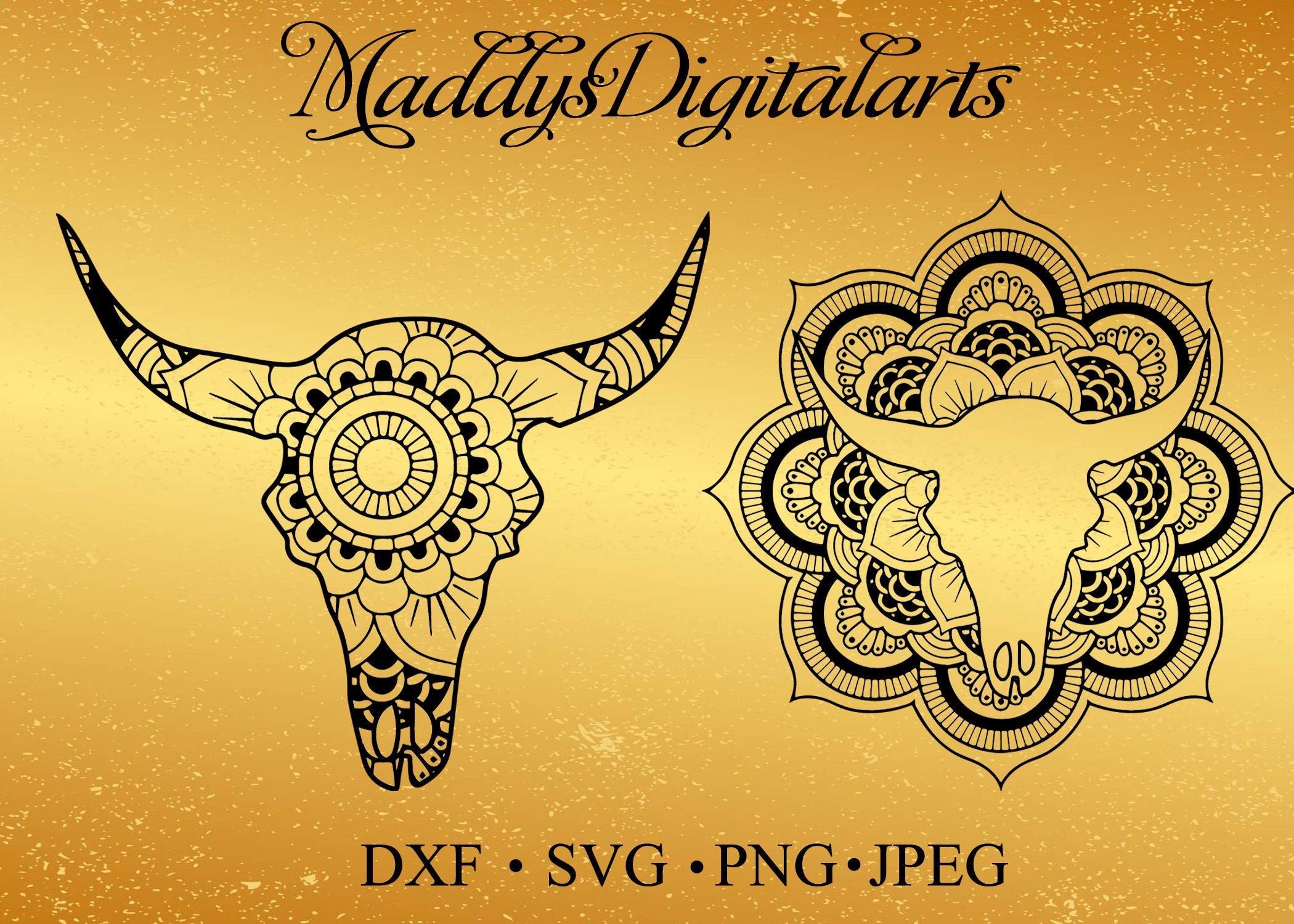 Unique Cow Skull Mandala SVG, DXF,cut file, Cow skull zentangle,Cow ...
