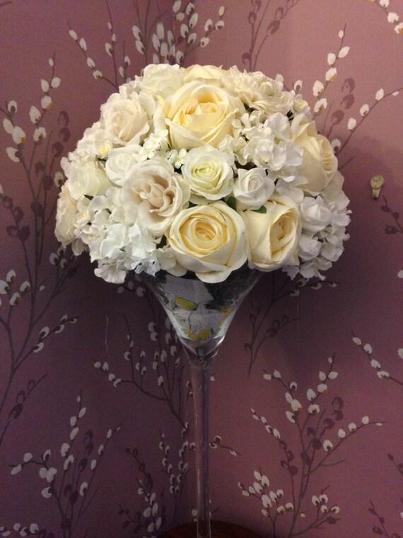 Artificial Creamy Ivory White Flower Martini Wedding