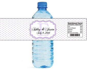 Lavender Swiss Monogram Wedding Water Bottle Labels Great for Engagement Bridal Shower Party easy to apply and use