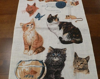 ON SALE Vintage 1960's Kay Dee Cat Towel, Linen Towel with Crochet Edge, New With Tag