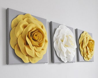 "Home Decor Wall Hanging Flower Set -Mellow Yellow Rose and Ivory Rose on Gray 12 x12"" Canvas Wall Art Set- 3D Felt Flower"