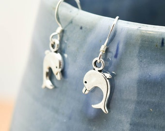 Dolphin Earrings, Silver Earrings, Dolphin Jewelry, Charm Earrings, Bridesmaid Gift, Gift for Her, Animal Earrings, Dangle Earrings,Antique