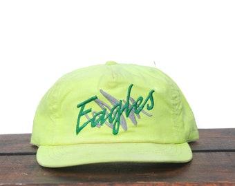 Vintage Snapback Hat Baseball Cap Neon Yellow Philadelphia Philly Eagles NFL Football