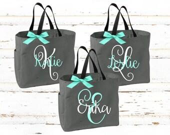 Personalized Bridal Tote Bag, Bridesmaid Tote Bag, Maid of Honor Tote Bag, Monogrammed Tote Bag (BR031)