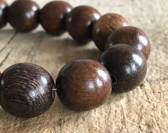"16"" Strand 18mm Brown Wood Beads Round Natural Wood, Natural Wood, Jewelry Making, DIY, Craft Supplies, Jewelry Supplies"