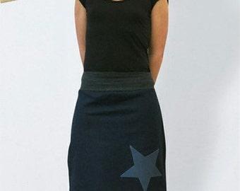Knee length denim skirt dark blue with star in retro style , flared skirt, blue Skirt, A line Skirt, women denim skirt, casual skirt