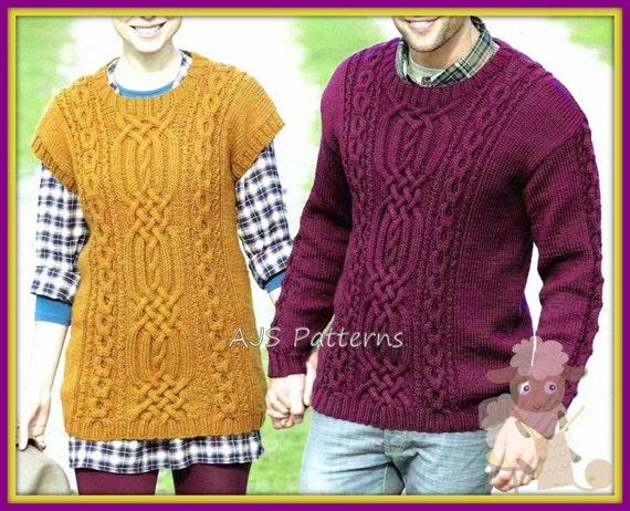 PDF Knitting Pattern for Sweater & Aran Tabard Tunic