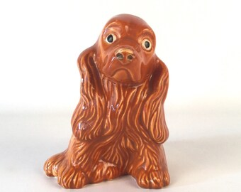Vintage Dog Figurine - Sweet Face Expression Puppy Dog Ceramic - Red Auburn Fur - Cute Long Floppy Ears - Dog Collectors Animal Lovers