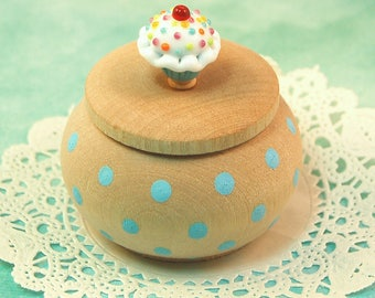 Tiny Wood Trinket Box with  Lampwork Glass Turquoise Sprinkle Cupcake Knob/Finial