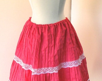 Lovely 1970s Vintage Bright, Colorful Pink with Contrasting White Lace Mexican Tiered Full Circle Below the Knee Skirt, Size Small - Medium