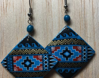Tidal | Hand-painted Artisan Earrings