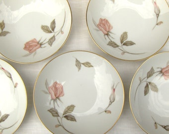 Nancy by Sango Fruit / Sauce Bowls / Pink Rose Dessert / Vintage China Berry Dishes Set 5 - #3509