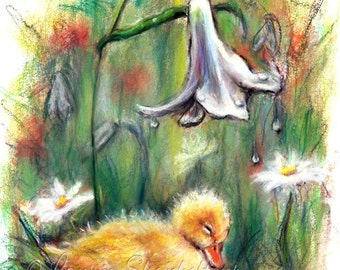 Duck, Duckling, children Nursery baby bird, baby animal wildlife series Canvas or paper print, 'Rainy Day Slumber' by Laurie Shanholtzer