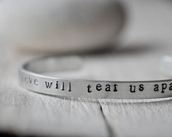 Personalised Aluminium Bangle, your phrase, song lyrics, book quote, personalized writing