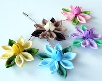 Kanzashi  fabric flower brooch . Kanzashi flower lapel pin. Boutonniere lapel pin. Fabric flower boutonniere. Men lapel pin. Men brooch.