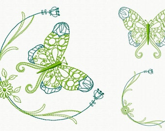 Machine Embroidery Design - Butterfly and Floral #06