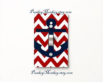 Anchor nautical lightswitch cover plate children's room decor ocean beach sea red navy blue chevron