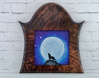"Original Miniature Painting, ""When the Moon is Full"", Acrylic on Canvas, Custom Exotic Hardwood Frame"