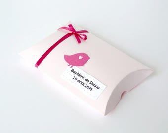 Ensemble de 10 boîtes à dragées pour baptême/anniversaire fillette thème oiseau coloris rose clair/fuchsia personnalisables