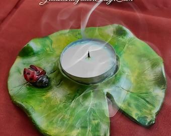 Lilypad & Ladybug Votive Candleholder – Bookshelf, Tabletop, Centerpiece, Mantle Decor